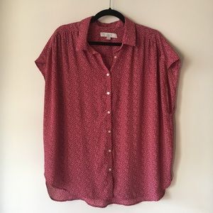 LOFT Dark Red and White Pattern Button Up Blouse